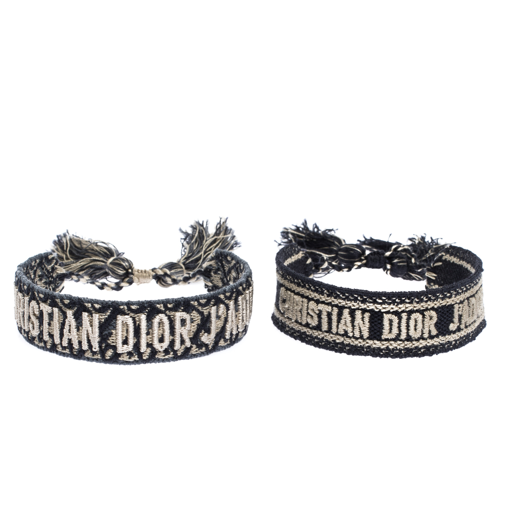 Dior J'adior Navy Blue Cotton Embroidered Dior Oblique Set of Two Bracelets
