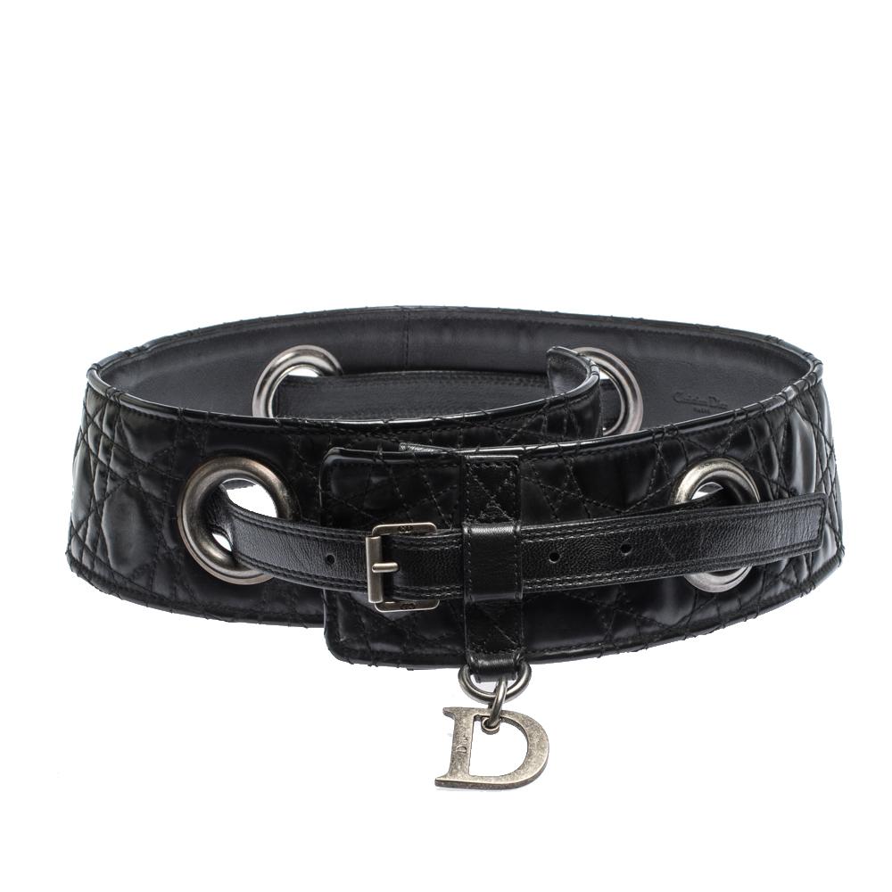 Dior Black Cannage Leather Grommet Waist Belt 85CM