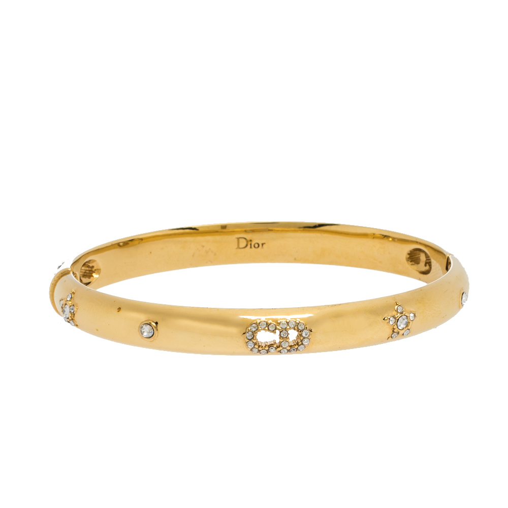 Dior Gold Tone CD Crystal Embedded Bangle Bracelet