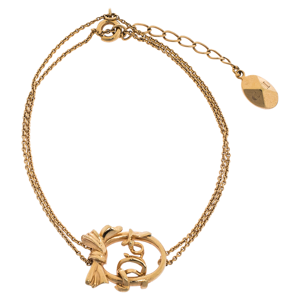 Dior Bow Monogram Gold Tone Double Chain Bracelet
