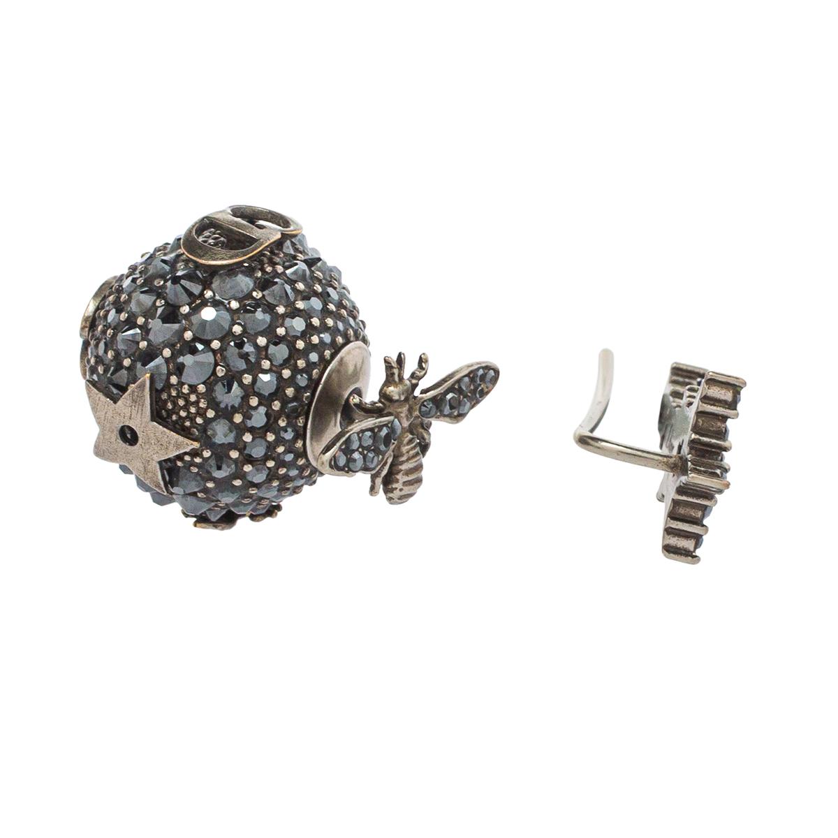 Dior Bee Star Tribal Crystal Gunmetal Tone Asymmetric Stud Earrings