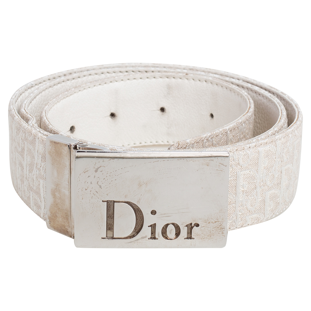 Dior Beige/White Oblique Canvas And Leather Reversible Buckle Belt 85CM