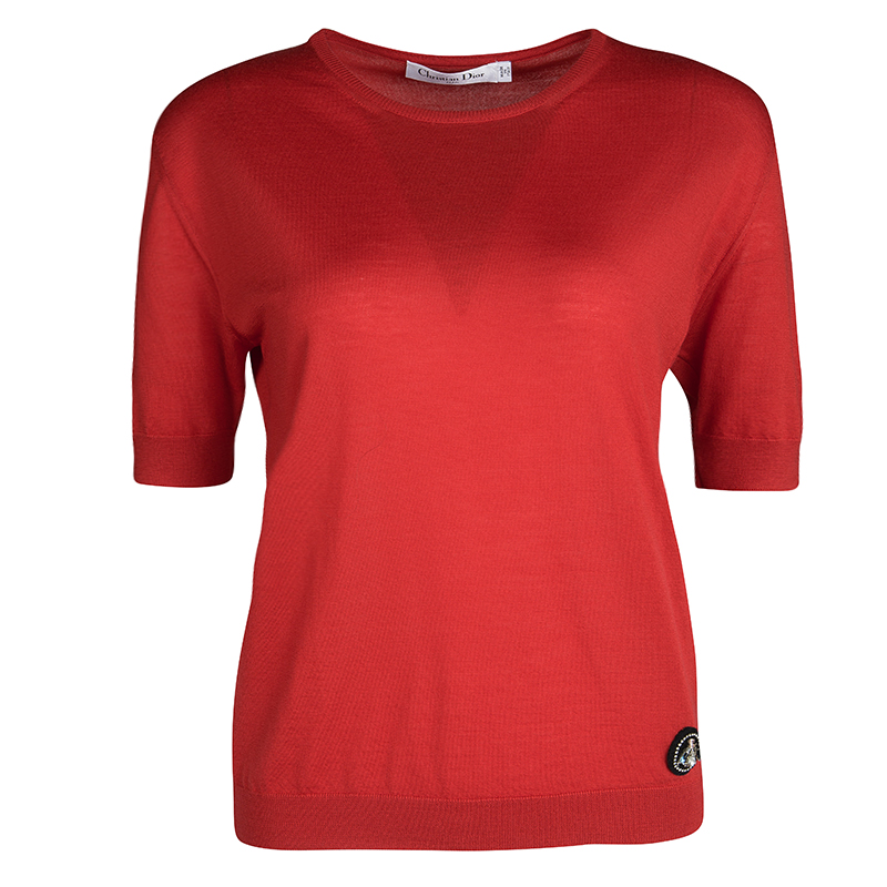 Dior Red Wool Embellished Fly Detail Short Sleeve Top S