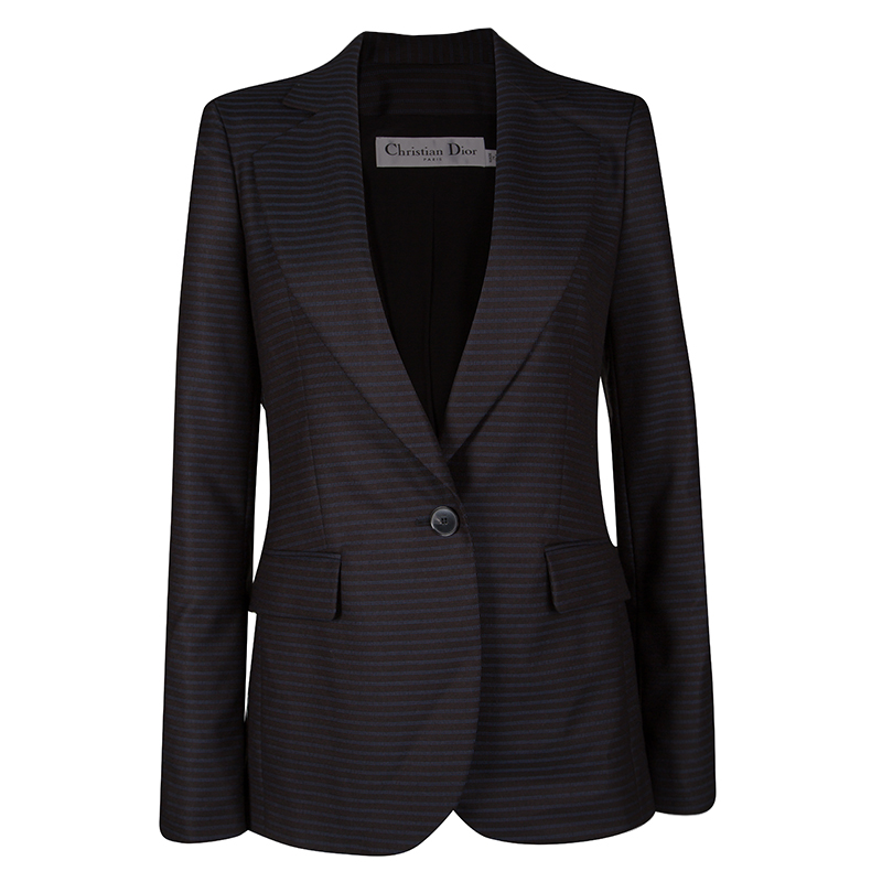 0ac26a6c2d0d Buy Dior Black and Blue Striped Wool Tailored Blazer S 129740 at ...