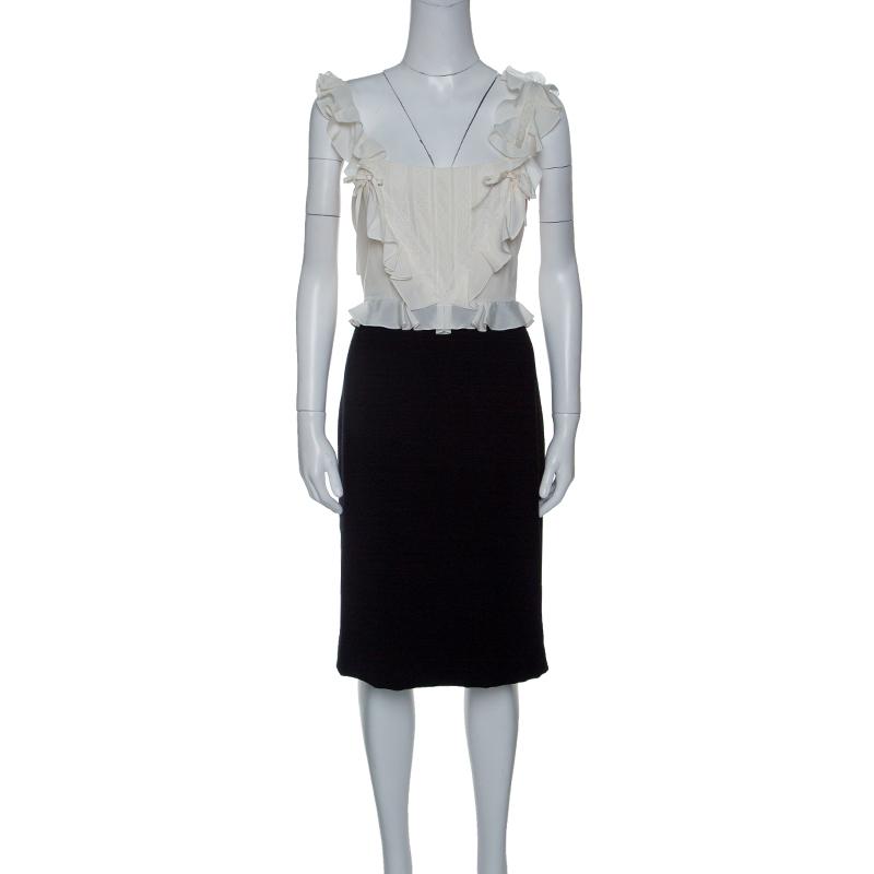 Dior Monochrome Lace Insert Ruffle Detail Silk Wool Dress L