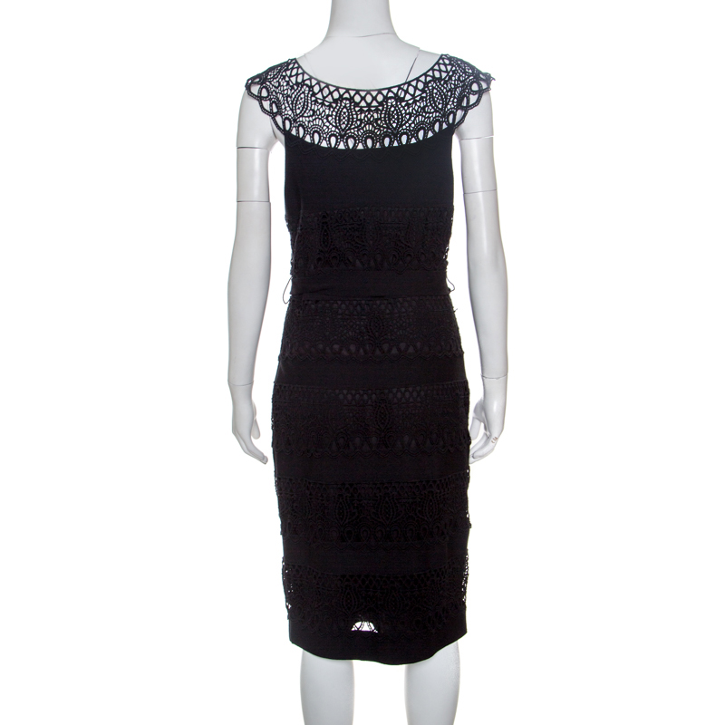 Dior Black Wool Lace Insert Sleeveless Belted Dress M