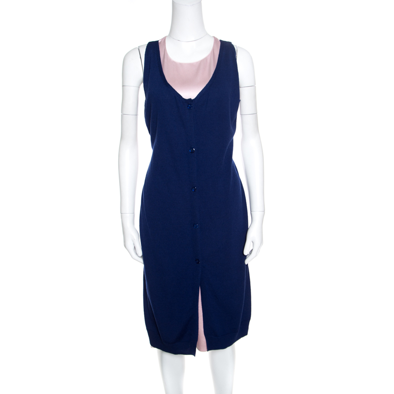 Купить со скидкой Dior Pink and Blue Faux Cardigan Layered Sleeveless Dress M