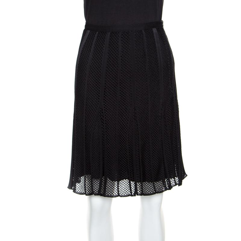 f4c0952b8d9 Buy Dior Black Perforated Knit Pleated Mini Skirt M 155840 at best ...