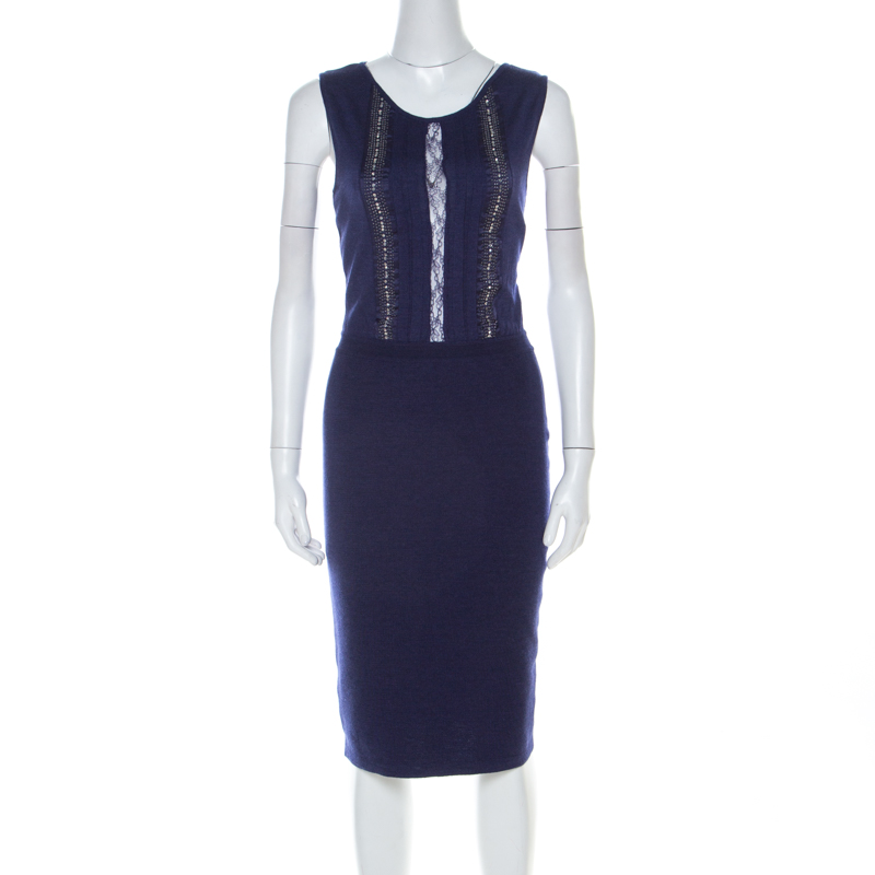 Dior Blue Cashmere Silk Blend Embellished Lace Panel Sleeveless Sheath Dress M