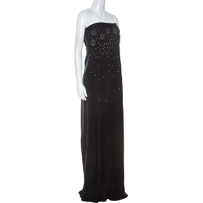 Dior Black Crepe Pleat Detail Embellished Strapless Gown