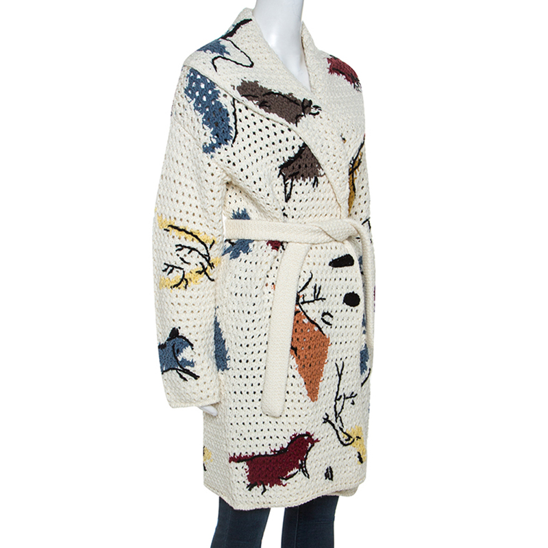 Christian Dior Off White Abstract Knit Chunky Belted Cardigan