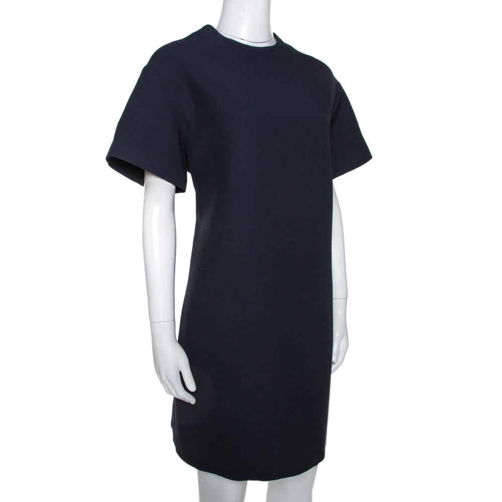 Dior Navy Blue Wool Short Sleeve Shift Dress L