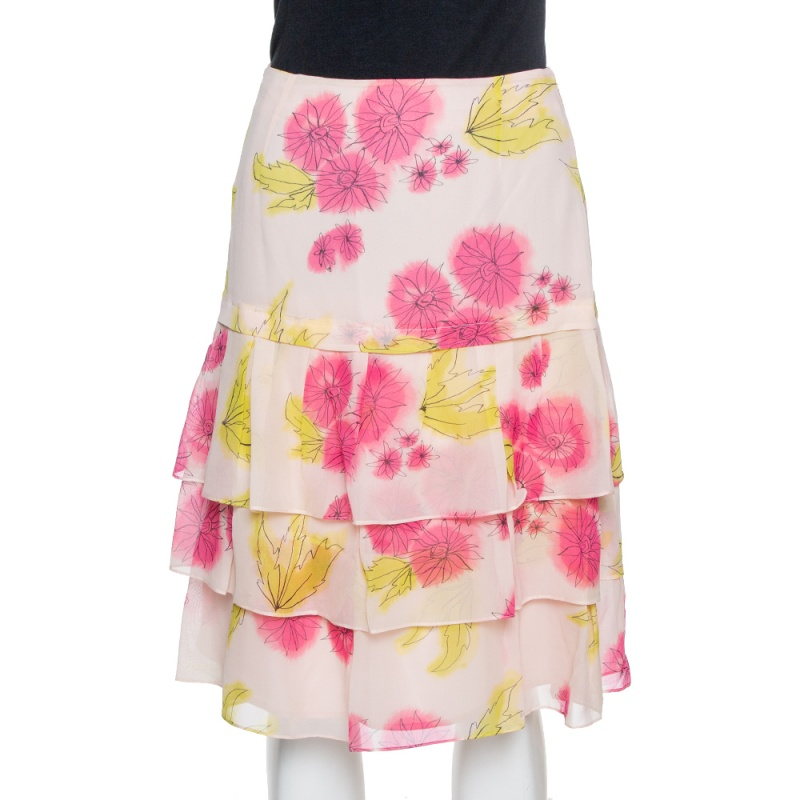 Pre-owned Dior Pink Floral Print Silk Tiered Skirt M