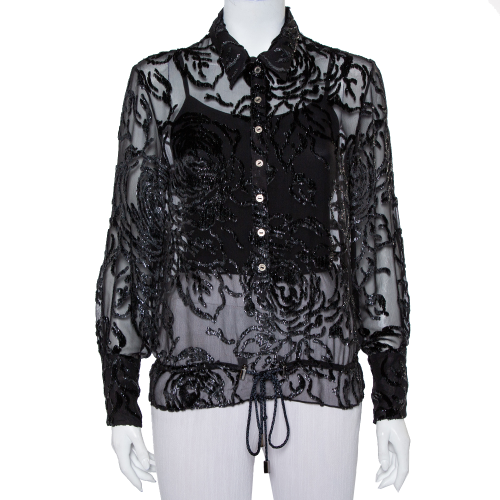 Christian Dior Vintage Black Devore Waist Tie Detail Button Front Shirt M