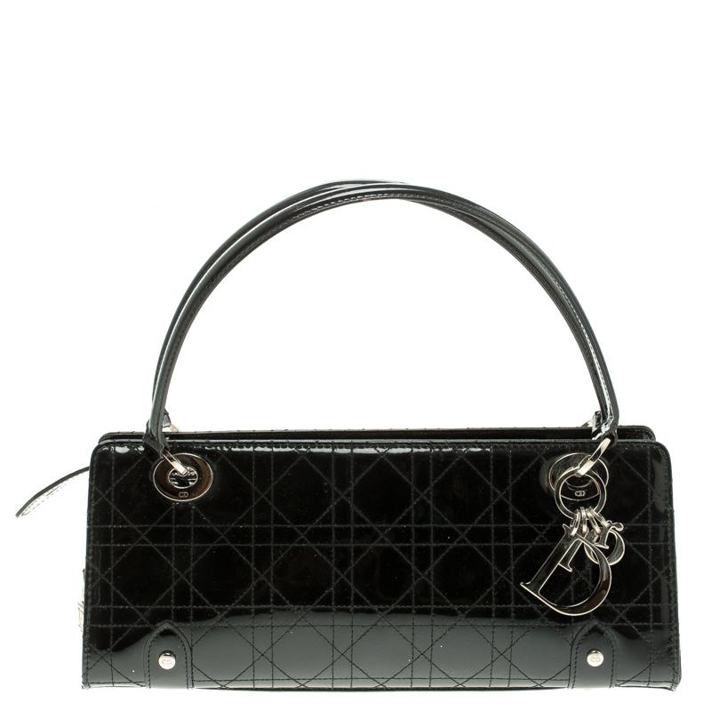 335e32fdd9 ... Dior Black Cannage Patent Leather Lady Dior East West Shoulder Bag.  nextprev. prevnext