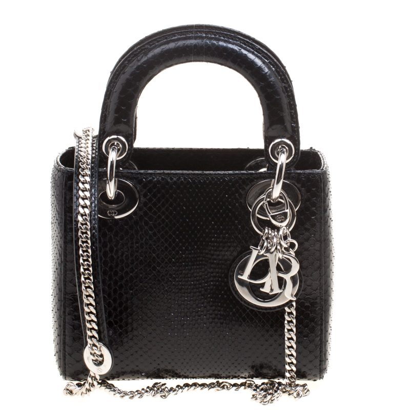 45fc3a068953 Buy Dior Black Python Mini Chain Lady Dior Tote 115950 at best price ...