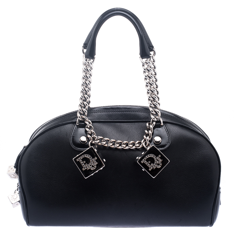 Dior Black Leather R Dice Bowling