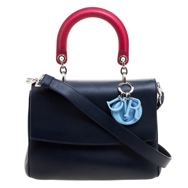 e5c3c24e30eb Buy Dior Navy Blue Leather Small Be Dior Shoulder Bag 120080 at best ...