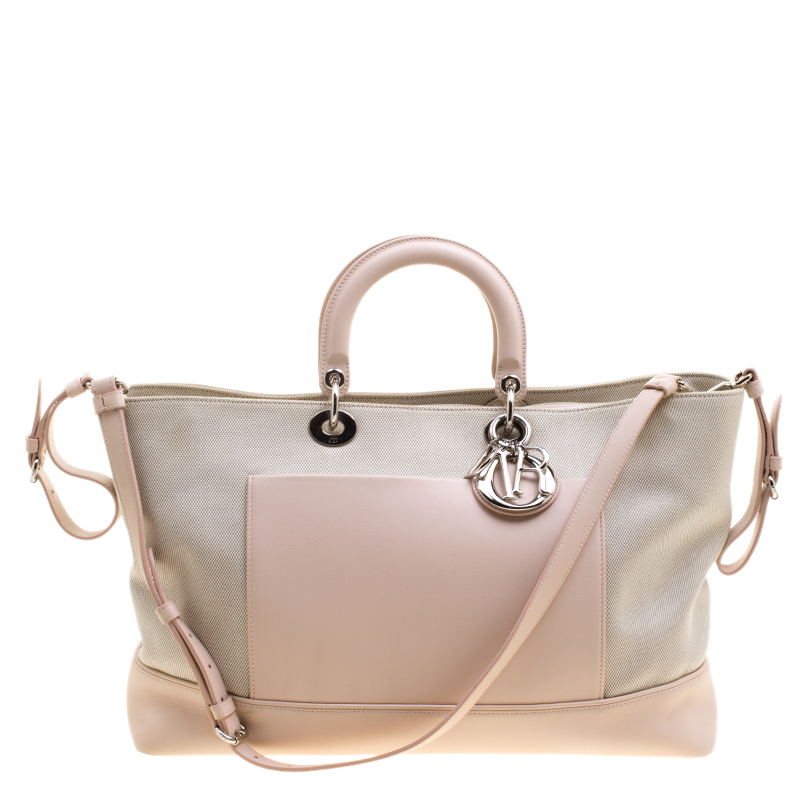 Buy Dior Beige Pink Canvas and Leather Nappy Diaper Bag 121399 at ... b24690a38d4a8