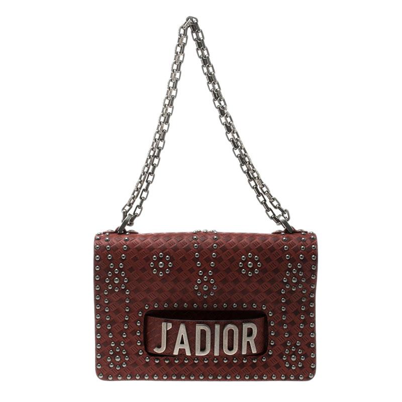 7b67c908782c Buy Dior Red Leather J adior Studded Shoulder Bag 125393 at best ...