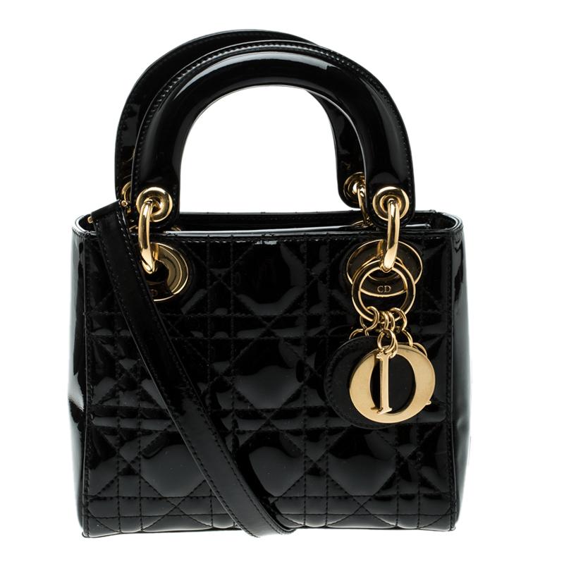 a122ddc11 إشتري حقيبة يد ديور ليدي ديور ميني جلد لامعة سوداء 126579 بأفضل ...