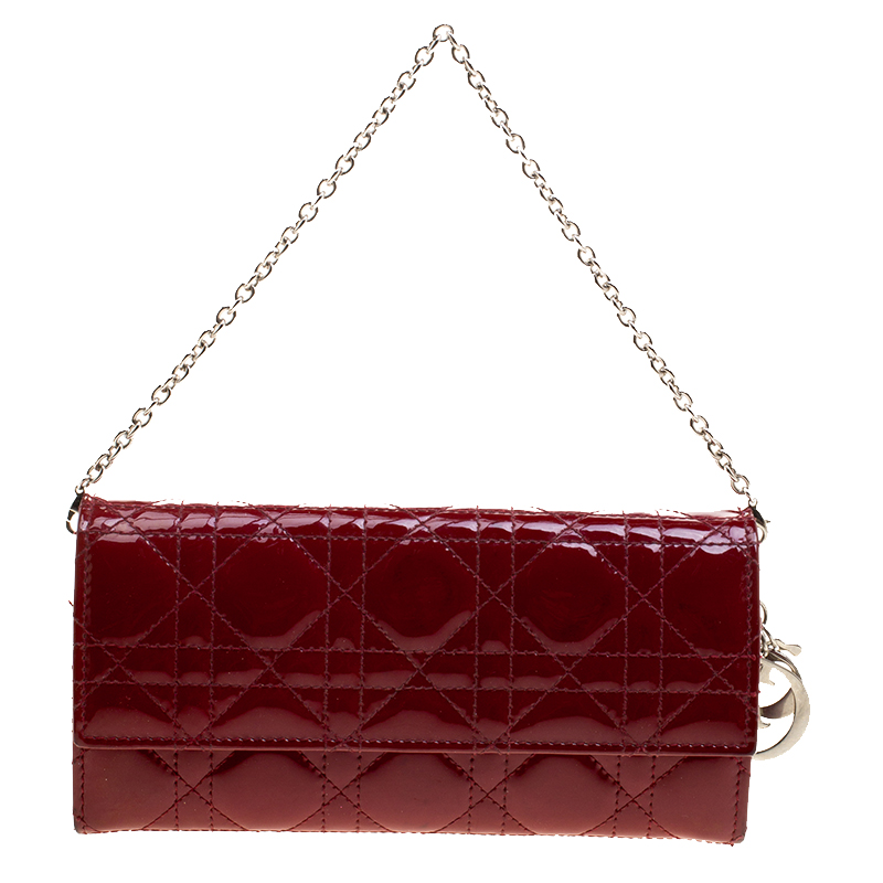 adc5bf902c7e ... Dior Red Cannage Patent Leather Lady Dior Clutch. nextprev. prevnext