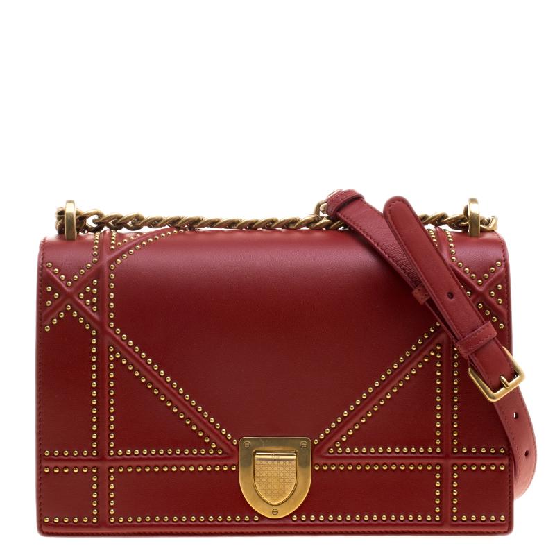 dd17bc5a4072 Buy Dior Red Leather Medium Studded Diorama Shoulder Bag 129101 at ...
