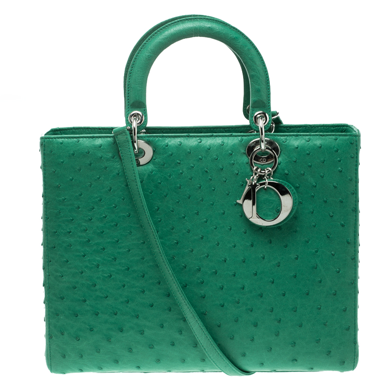 f984fe20e064 Buy Dior Green Ostrich Skin Large Lady Dior Tote 129377 at best ...