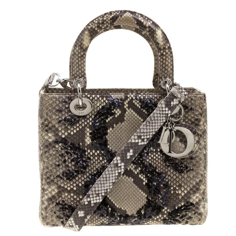 d30961ebf0e Buy Dior Beige Python Medium Lady Dior Tote 131381 at best price | TLC