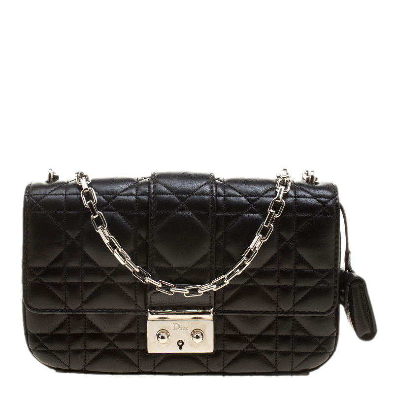 Buy Dior Black Cannage Leather Small Miss Dior Flap Bag 137286 at ... 26564fffce98a