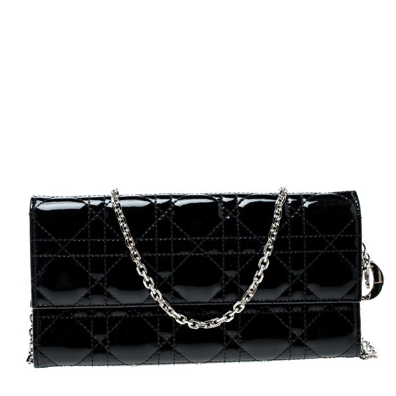Buy Dior Black Cannage Patent Leather Lady Dior Wallet on Chain ... a5a9e88cf492a