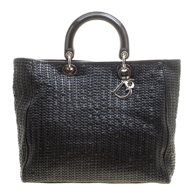 7c09b5e1c0e9 ... Dior Black Woven Leather Large Soft Lady Dior Tote. nextprev. prevnext