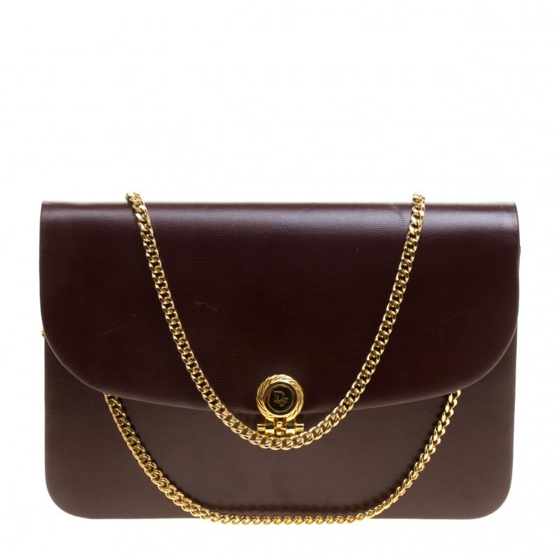 Dior Burgundy Leather Vintage Shoulder Bag