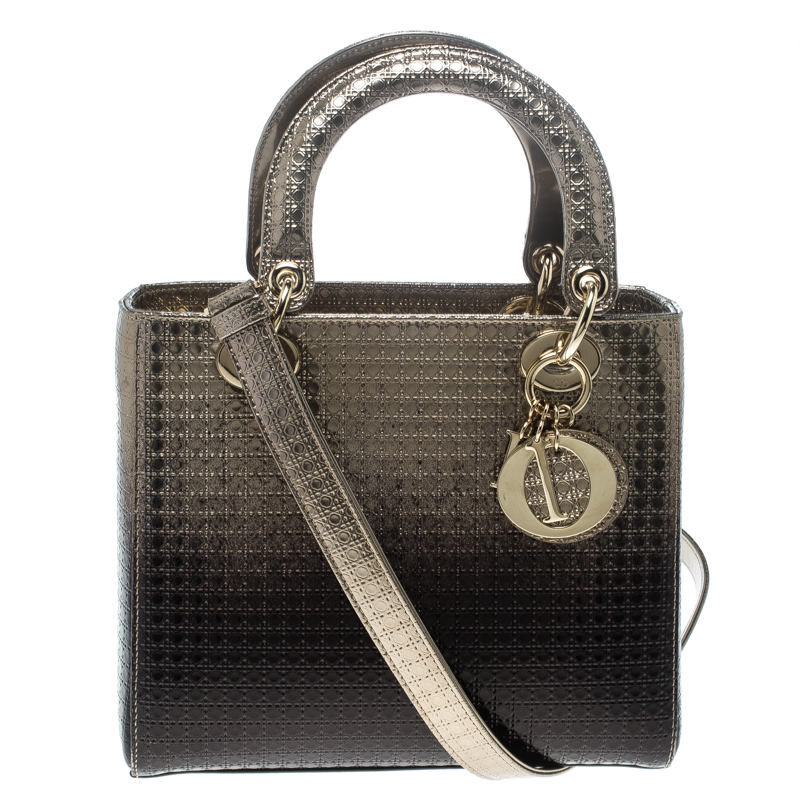 5f262bfa07f1b Buy Dior Metallic Gold Brown Perforated Patent Leather Medium Lady ...