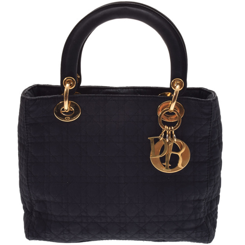 Dior Black Cannage Quilted Nylon Medium Lady Dior Tote
