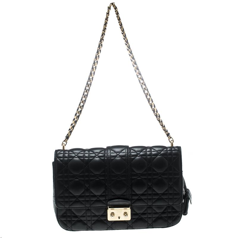 b2d0992e078d7d ... Dior Black Cannage Leather Miss Dior Medium Flap Bag. nextprev. prevnext