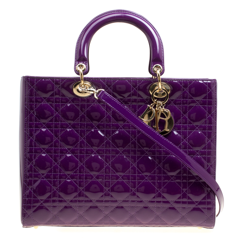 Buy Dior Purple Patent Leather Large Lady Dior Tote 154962 at best ... 24266de2e9