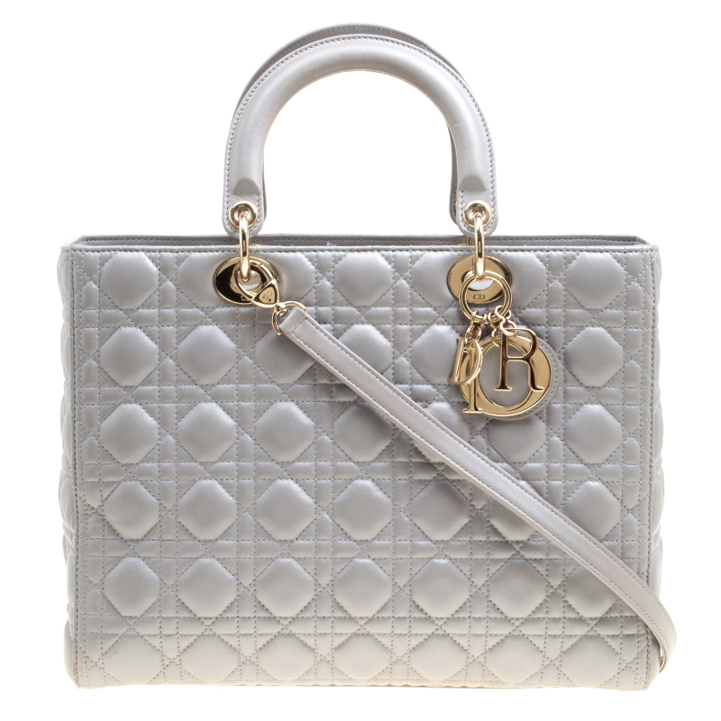 5a11ff6fc ... Dior Grey Leather Large Lady Dior Top Handle Bag. nextprev. prevnext