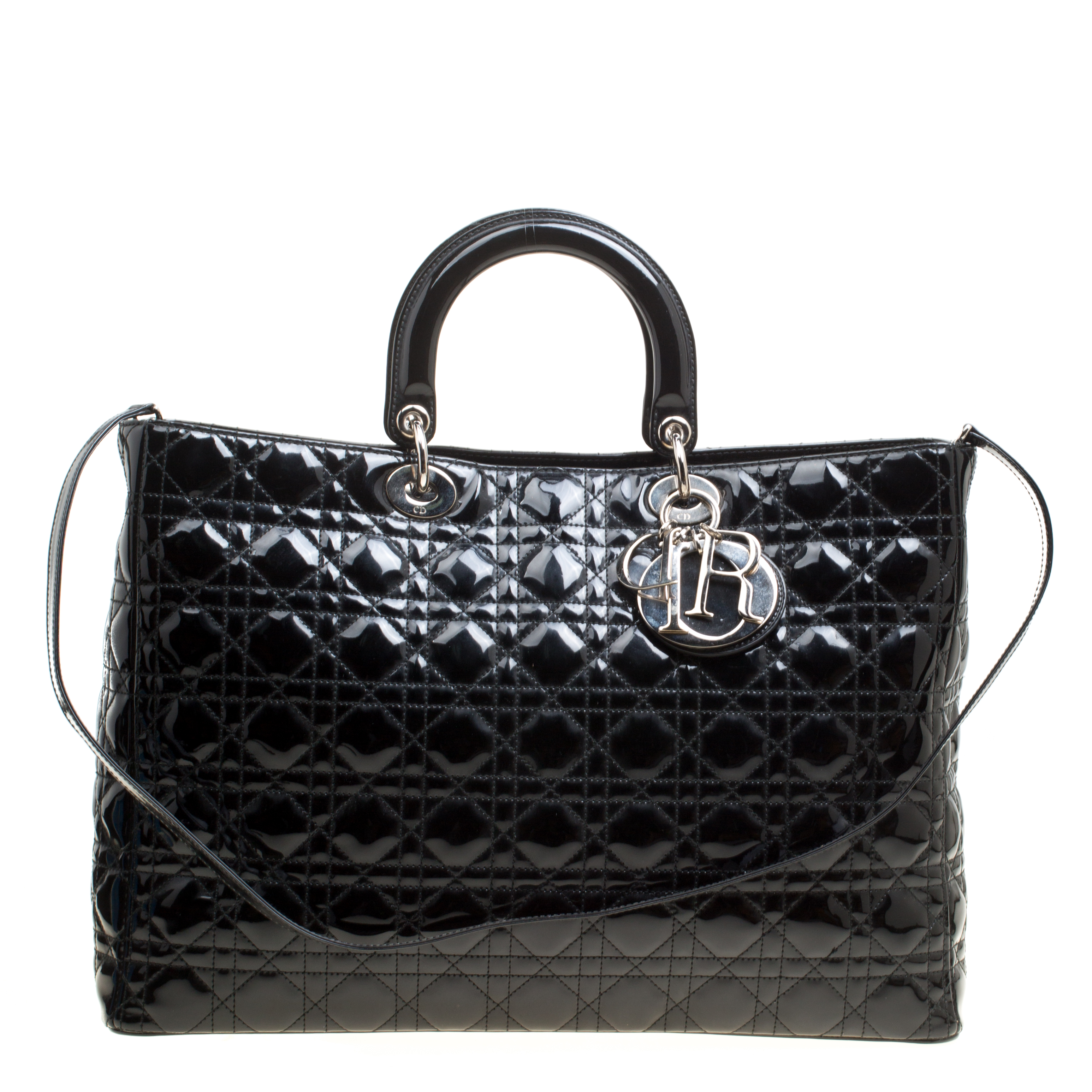 98a539751 Buy Dior Black Patent Leather Extra Large Lady Dior Top Handle Bag ...