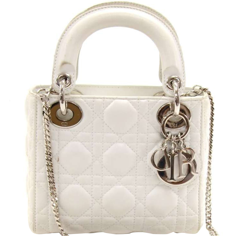 Buy Dior White Cannage Quilted Leather Mini Lady Dior Tote 158101 at ... 5498f71692166