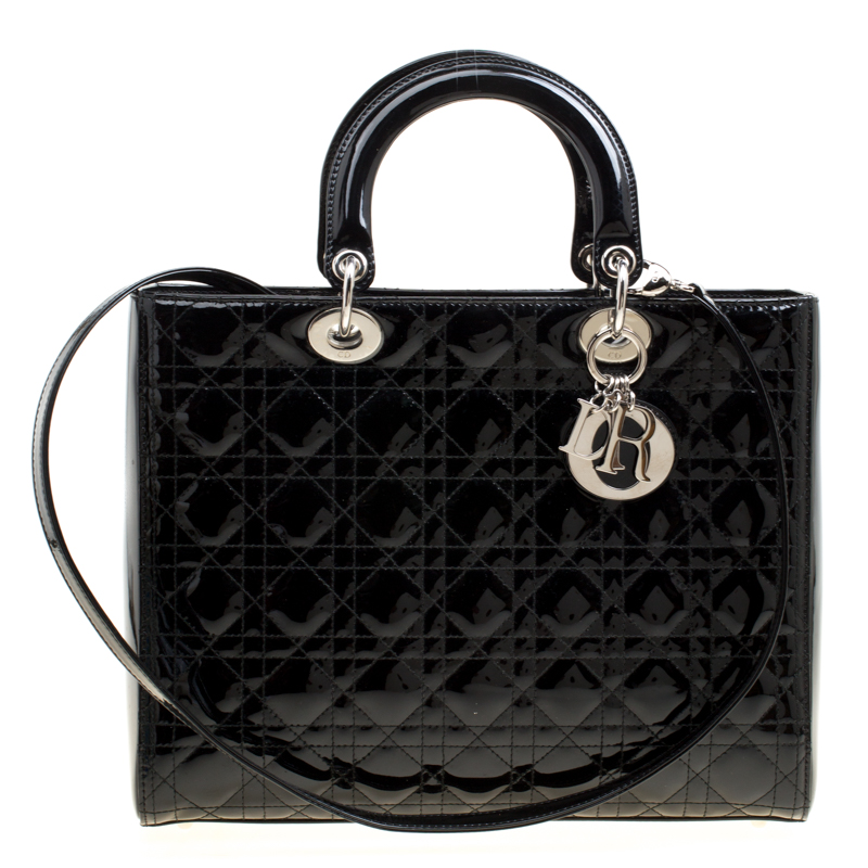 f2adc36c9 Buy Dior Black Patent Leather Large Lady Dior Tote 163357 at best ...