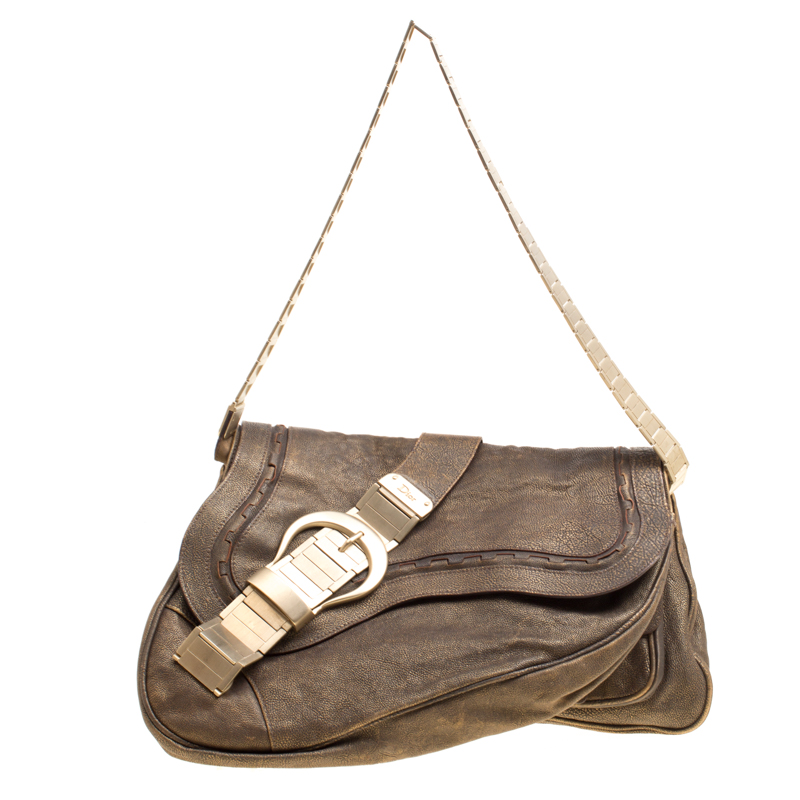 cae6ade5406 Dior Khaki Leather and Metal Limited Edition 148 Gaucho Double Saddle Bag