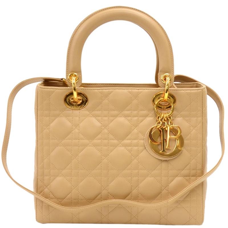 13aea3f34e81 Dior Beige Cannage Quilted Leather Medium Lady Tote 165162. Gucci Soho  Disco Leather Bag