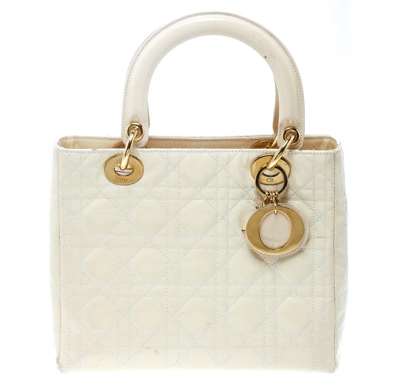 3b2d22a4e0b Buy Dior Cream Patent Leather Medium Lady Dior Tote 171300 at best ...