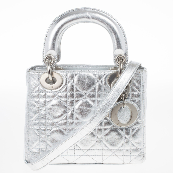 Buy Christian Dior Metallic Silver Micro Lady Dior Bag 17131 At Best