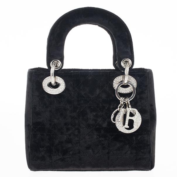 Buy Dior Black Velvet Swarovski Crystals Micro Lady Dior Bag 17132 ... f33fcb7112