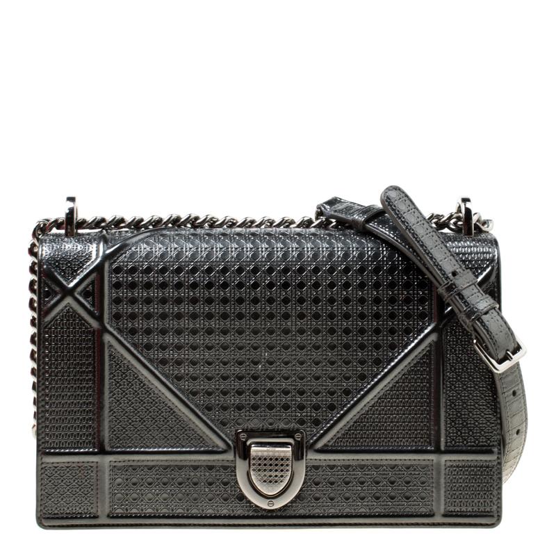 4442b9fc1c3 ... Dior Metallic Grey Patent Leather Medium Diorama Shoulder Bag.  nextprev. prevnext