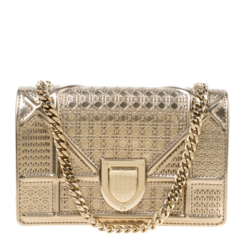 7a184aa76b ... Dior Gold Micro Cannage Patent Leather Baby Diorama Shoulder Bag.  nextprev. prevnext