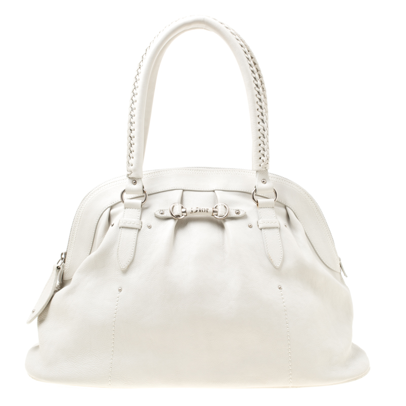 Buy Dior White Leather My Dior Frame Satchel 175569 at ...