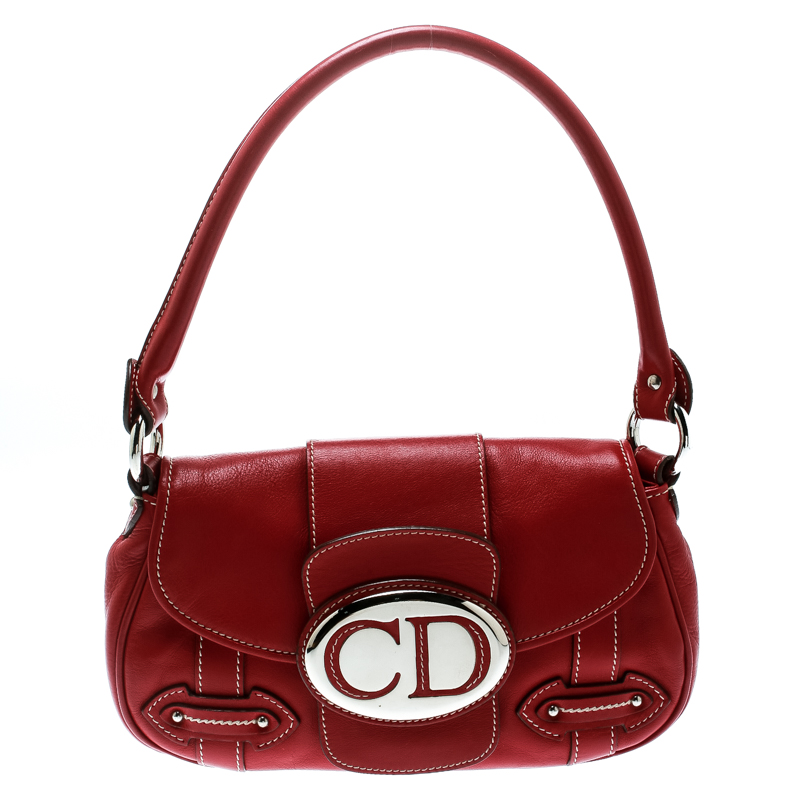 Dior Red Leather Shoulder Bag